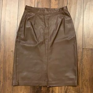 Bagatelle brown leather pencil skirt